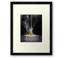 Black and White Astronaut and Golden Pyramid Framed Print