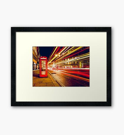 Vintage Red Telephone Box at Night in London Framed Print
