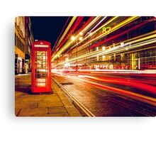 Vintage Red Telephone Box at Night in London Canvas Print