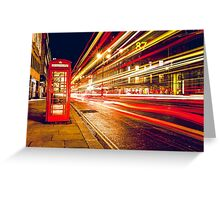 Vintage Red Telephone Box at Night in London Greeting Card