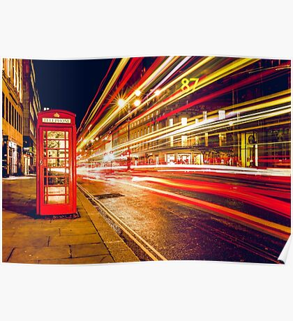 Vintage Red Telephone Box at Night in London Poster