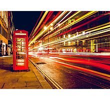 Vintage Red Telephone Box at Night in London Photographic Print