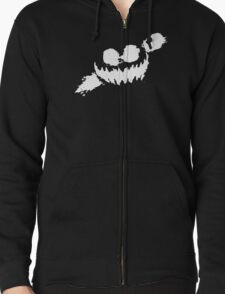 Haunted Smile white Zipped Hoodie