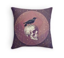 Crow and Skull Collage Throw Pillow