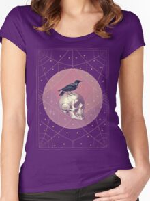 Crow and Skull Collage Women's Fitted Scoop T-Shirt