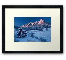 Cathedral - The Flatirons At Sunrise Framed Print