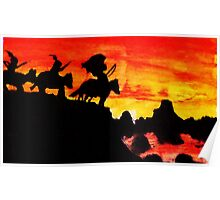 Southwestern theme, Sunet in valley, watercolor Poster