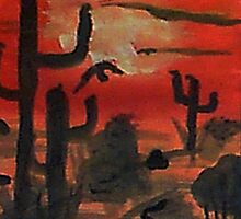 Sunset over the desert, Southwestern theme,  watercolor by Anna  Lewis