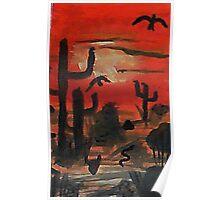 Sunset over the desert, Southwestern theme,  watercolor Poster