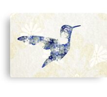 Blue Floral Hummingbird Canvas Print