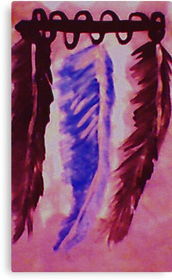 Feather display, Southwestern theme, watercolor by Anna  Lewis, blind artist