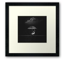 Goofy Black and White Frog with Umbrella in Rain Framed Print
