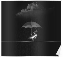 Goofy Black and White Frog with Umbrella in Rain Poster