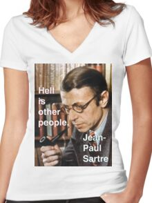 Hell is Other People - Sartre Women's Fitted V-Neck T-Shirt