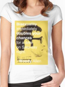 Bisexuality Double Your Chances - Woody Allen Women's Fitted Scoop T-Shirt