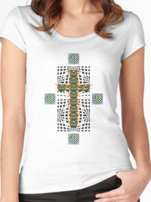 Abstract Cross Wht Women's Fitted Scoop T-Shirt