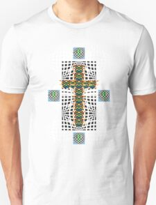 Abstract Cross Wht T-Shirt
