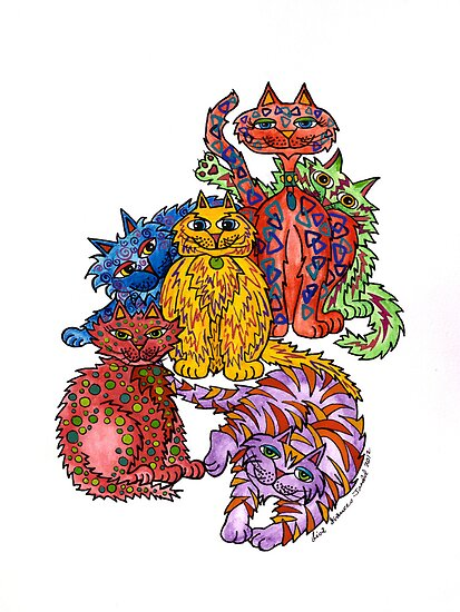 Cat Cluster ~ a colourul bunch of felines! by Lisa Frances Judd ~ Original Australian Art