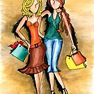 Girls Shopping Day ~ Nothing like a little 'girlfriend time' by Lisa Frances Judd ~ Original Australian Art