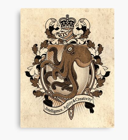Octopus Coat Of Arms Heraldry Canvas Print