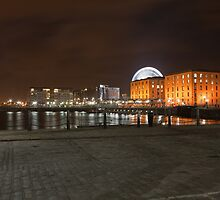 A nightview across Albert Dock, Liverpool by Keith Larby