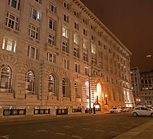 The Liver Building in Liverpool at Night by Keith Larby
