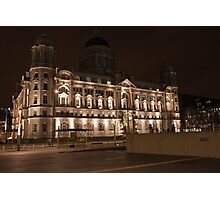 The Liver Building in Liverpool at Night Photographic Print