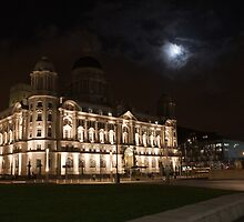 The Liver Building bathed in Moon light by Keith Larby