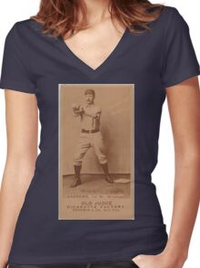 Benjamin K Edwards Collection Wally Andrews Omaha Team baseball card portrait Women's Fitted V-Neck T-Shirt