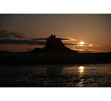 Lindisfarne Castle Moon Rise Photographic Print