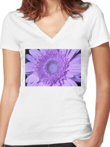 My Gerbera's Turned Purple Women's Fitted V-Neck T-Shirt