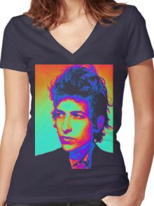 Bob Dylan Psychedelic Women's Fitted V-Neck T-Shirt