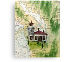 Mukilteo Lighthouse WA Nautical Chart Cathy Peek Canvas Print