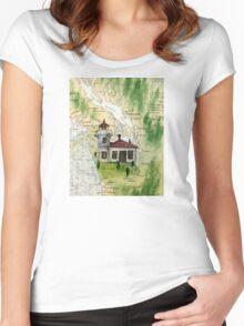 Mukilteo Lighthouse WA Nautical Chart Cathy Peek Women's Fitted Scoop T-Shirt