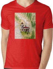 Mukilteo Lighthouse WA Nautical Chart Cathy Peek Mens V-Neck T-Shirt