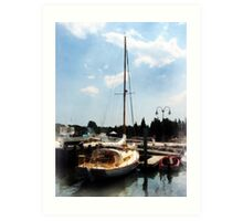 Docked Cabin Cruiser Art Print