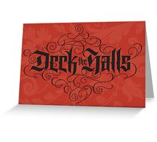 Elegant Red Black Christmas Card - Deck the Halls Hand Lettering Calligraphy Greeting Card