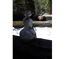 little snowman on a big river Photographic Print