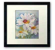 Lady bug on daisy with blue Framed Print