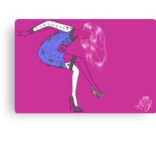 Purple Fashion Illustration Canvas Print