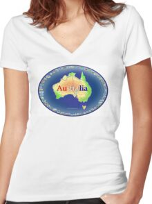 AUSTRALIA Women's Fitted V-Neck T-Shirt