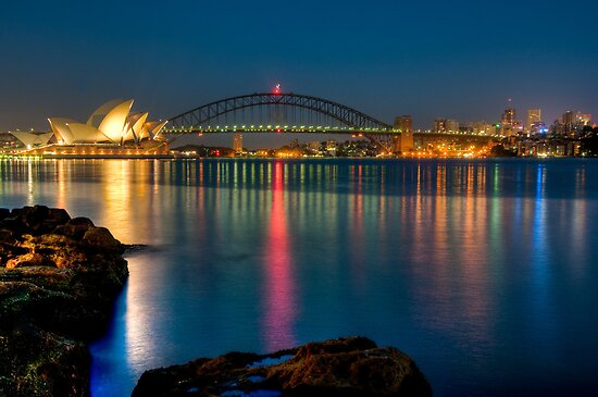 Sydney Harbour before sunrise by Erik Schlogl
