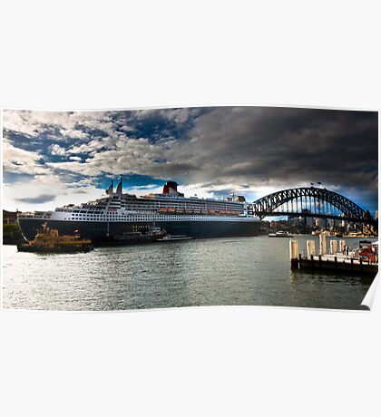 Sydney Harbour with Queen Mary 2 Poster