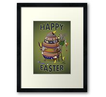 Happy Easter (Card) Chicks causing trouble. Framed Print