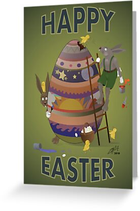 Happy Easter (Card) Chicks causing trouble. by Monsterpede