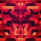 Abstract  geometric triangle texture pattern design in diabolic future red by badbugs