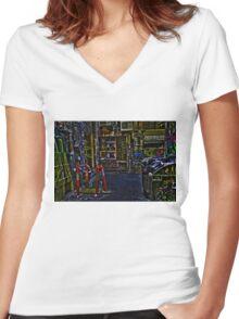 Degraves St 01 Women's Fitted V-Neck T-Shirt
