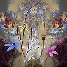 Silky Blue & Orchids with Blue Rusty Metal, native orchids of Western Australia. by Leonie Mac Lean