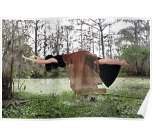 Woman Suspended Over Lush Swamp Poster