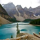 Lake Moraine In The Rain by Jeannie  Mazur